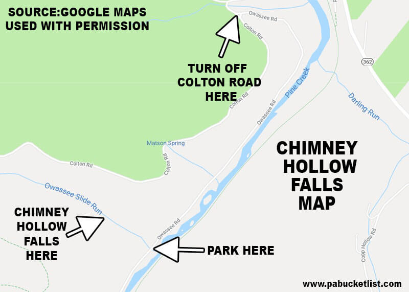 A map to Chimney Hollow Falls, near Colton Point State Park in the Pine Creek Gorge.