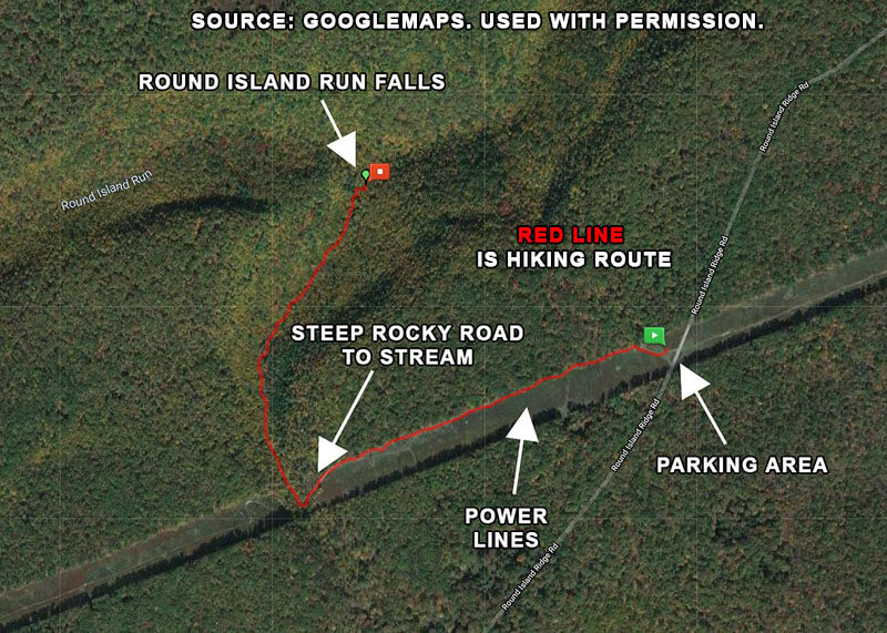 How to get to Round Island Run Falls. Map shows the hiking route (in red) and important landmarks along the way.