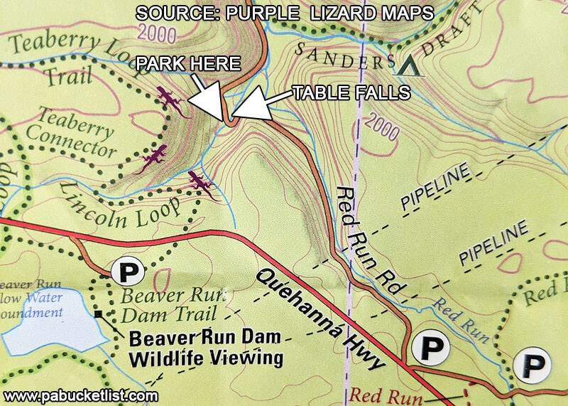 A map showing the location of Table Falls in the Quehanna Wild Area, Elk County PA.