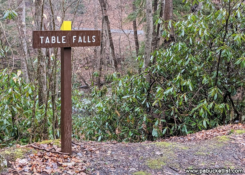 Sign at the Table Falls trail head.