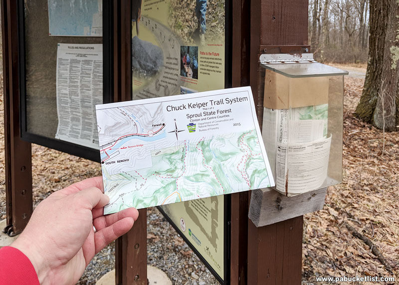 The map kiosk near parking area for Yost Run Falls hike.