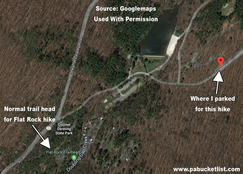 Satellite image of the parking areas for the Flat Rock Trail.