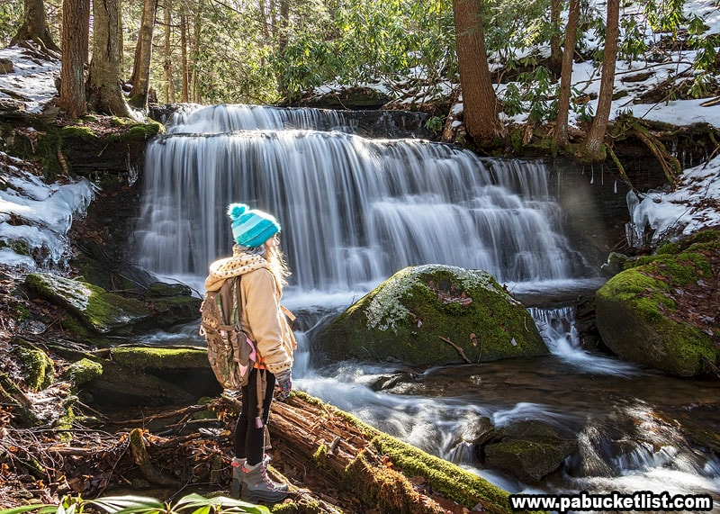 A young hiker takes in the scene at Yost Run Falls.