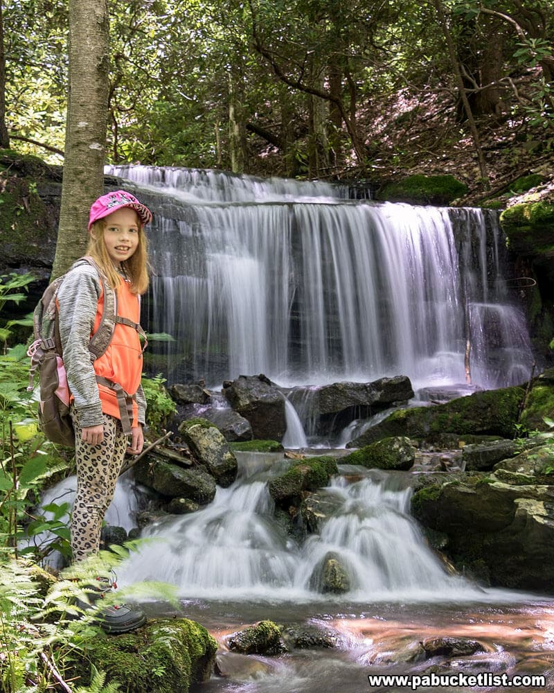 A young hiker at Kyler Fork Falls.