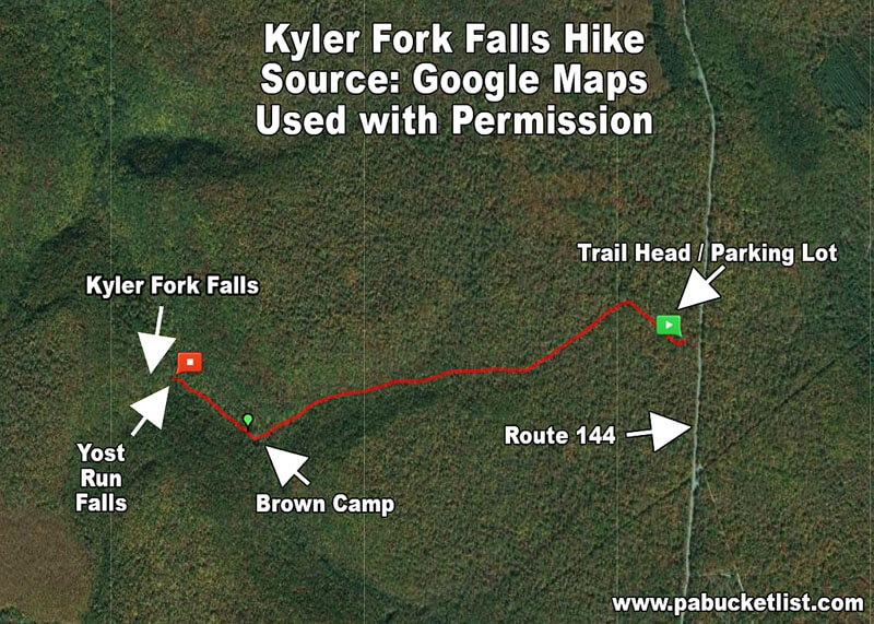 A map showing the location of Kyler Fork Falls in the Sproul State Forest.