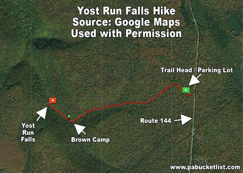 A map showing the trail to Yost Run Falls.