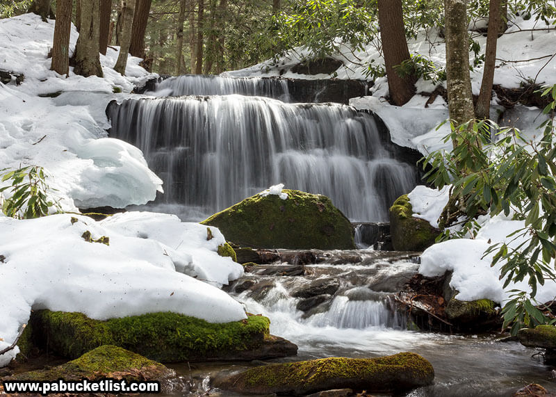 A stream-level view of Yost Run Falls on a winter day.