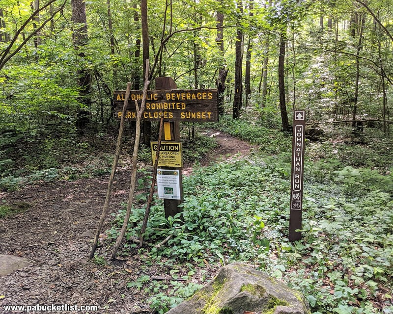 The Jonathan Run Trailhead at Ohiopyle State Park.