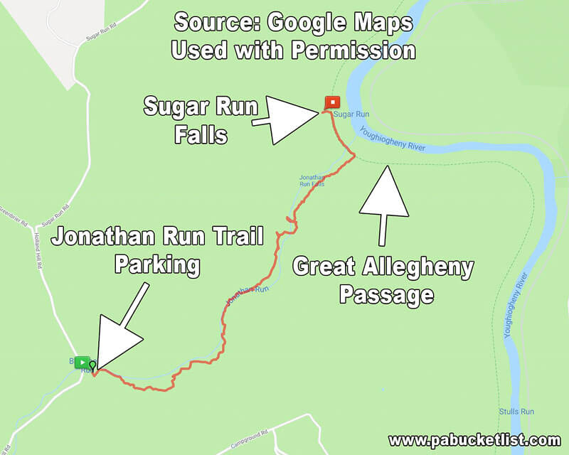 A map showing the Jonathan Run Trail at Ohiopyle State Park.