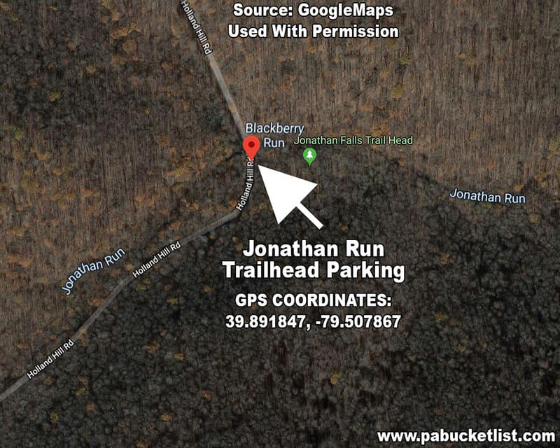 A map showing the Jonathan Run Trailhead and GPS coordinates.