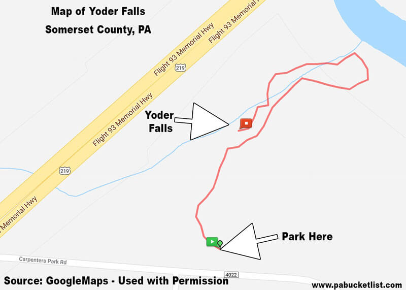 A map of the Yoder Falls Trail in SOmerset County, PA.