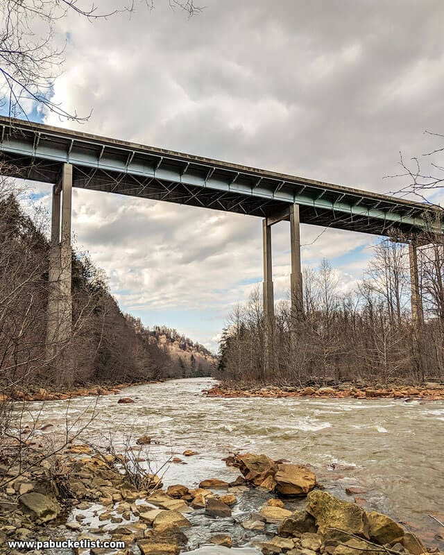The view of McNally Bridge over the Stonycreek River from the Yoder Falls Trail.