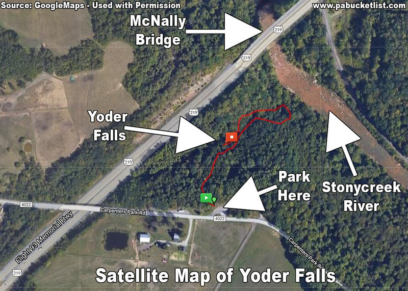 A satellite view of the Yoder Falls hike, as well as surrounding landmarks.