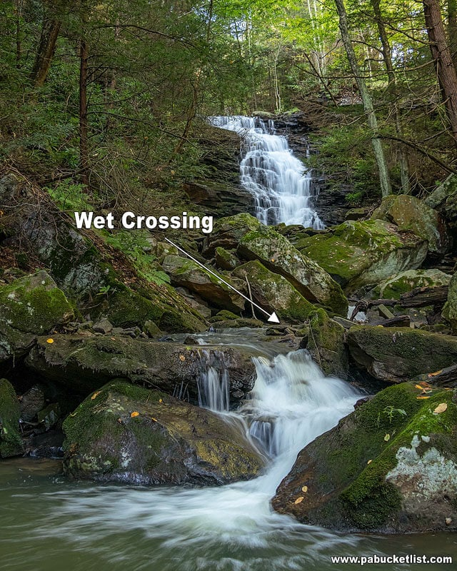 Wet crossing along trail immediately below Yoder Falls.