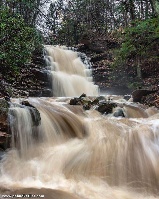 A November view of Yoder Falls in the Laurel Highlands of PA.