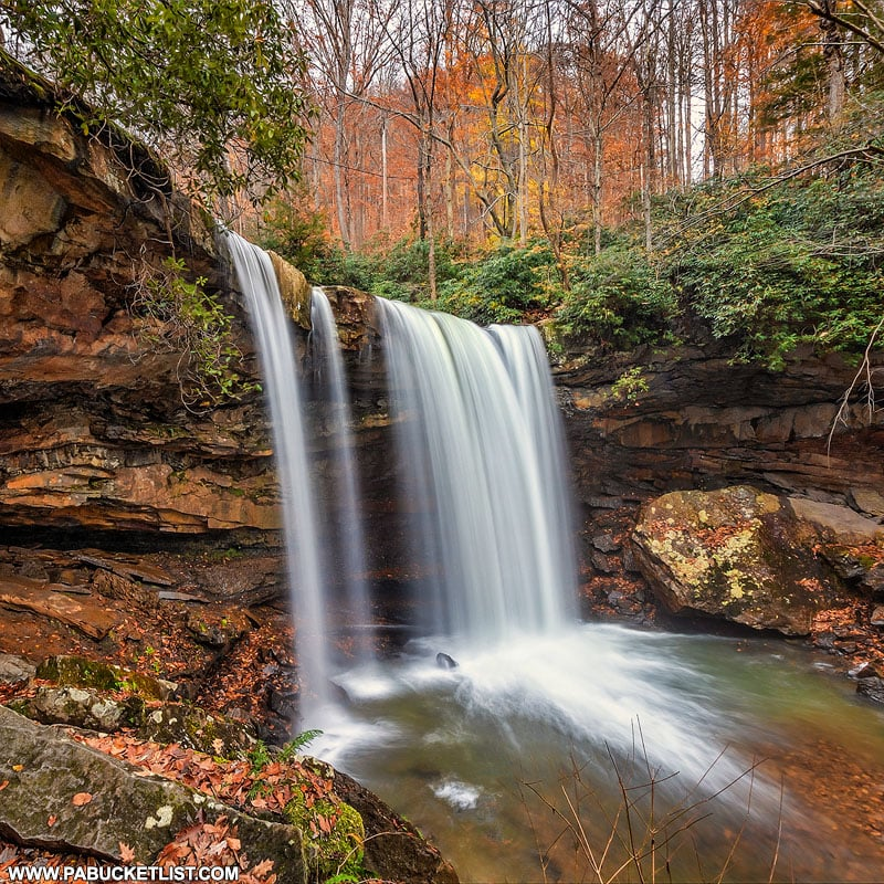 Vibrant fall foliage at Cucumber Falls.