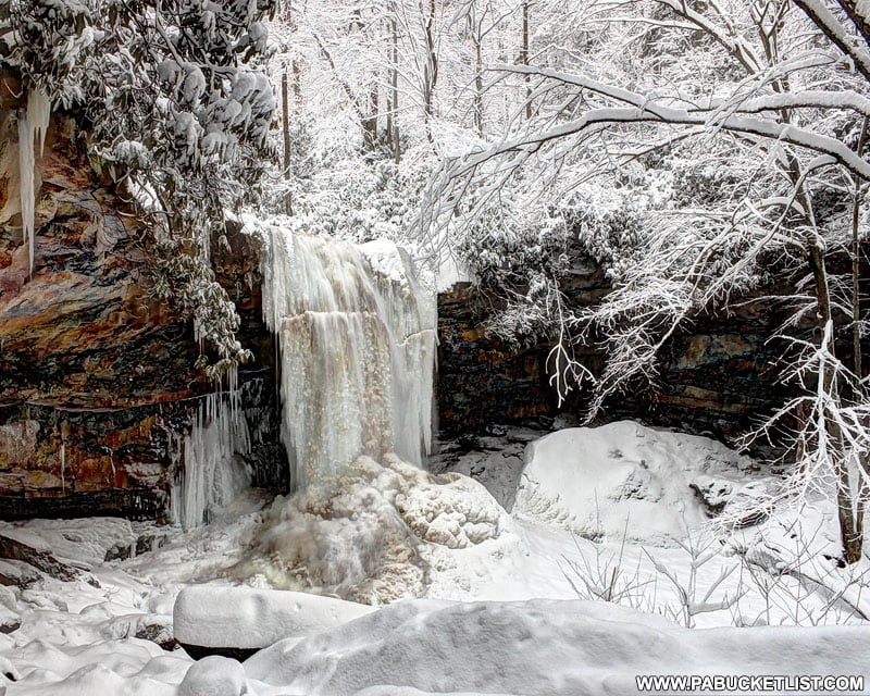 Cucumber Falls frozen solid after a prolonged coldspell.