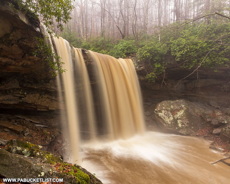 High flow and muddy water at Cucumber Falls.