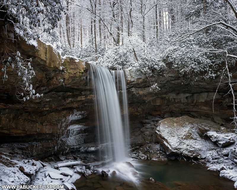 Cucumber Falls surrounded by a fresh blanket of snow.