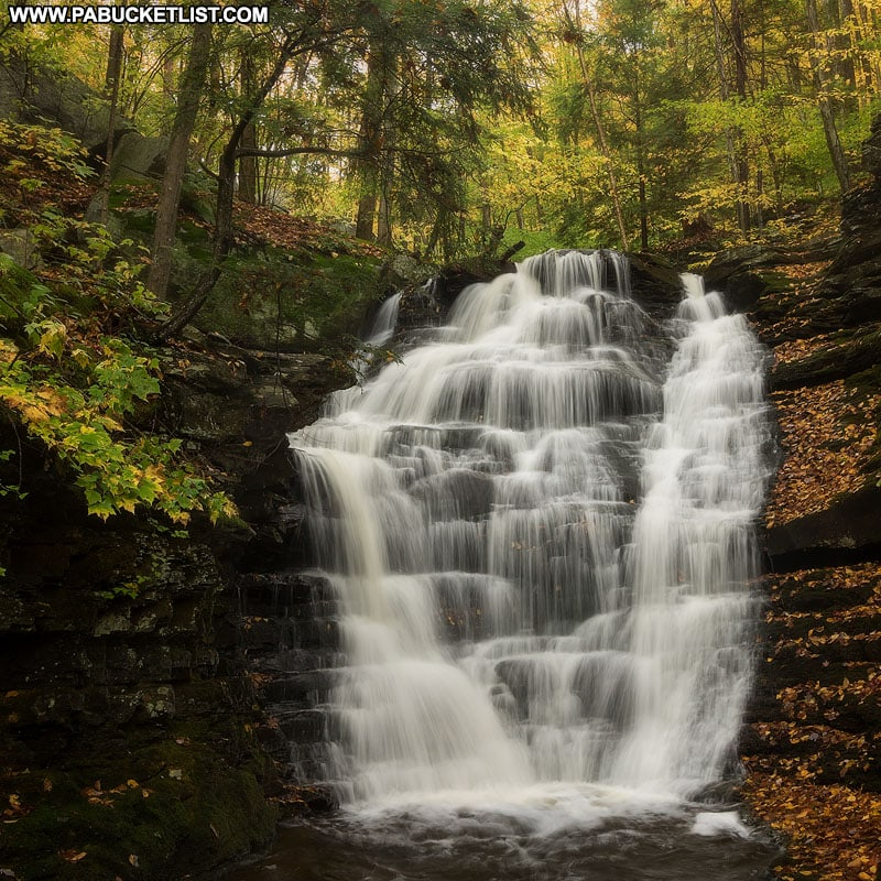 An autumn scene from the fourth waterfall on Miners Run in the Loyalsock State Forest.