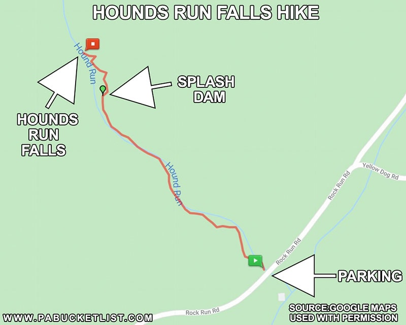 A map showing the hiking trail to Hounds Run Falls.