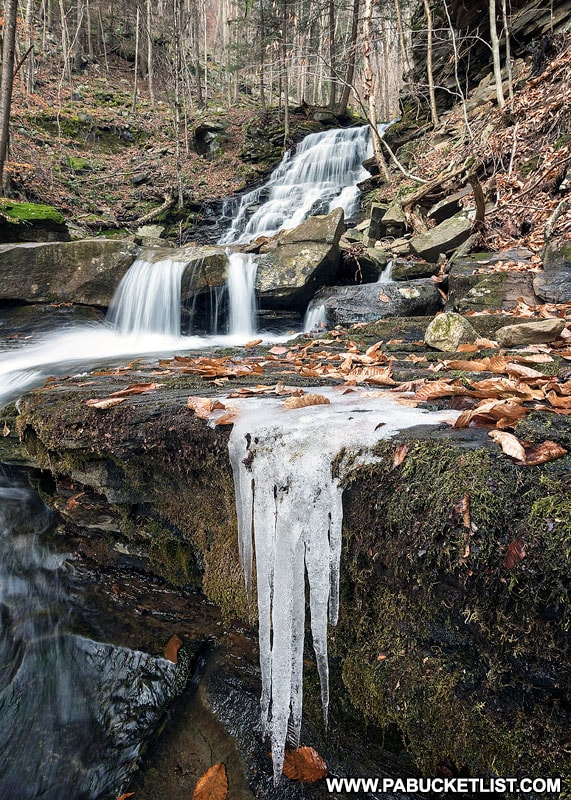 Ice formations at Hounds Run Falls in Lycoming County.