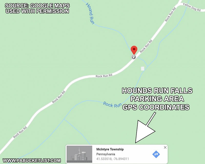 A map showing the GPS coordinates for the Hounds Run Falls parking area.