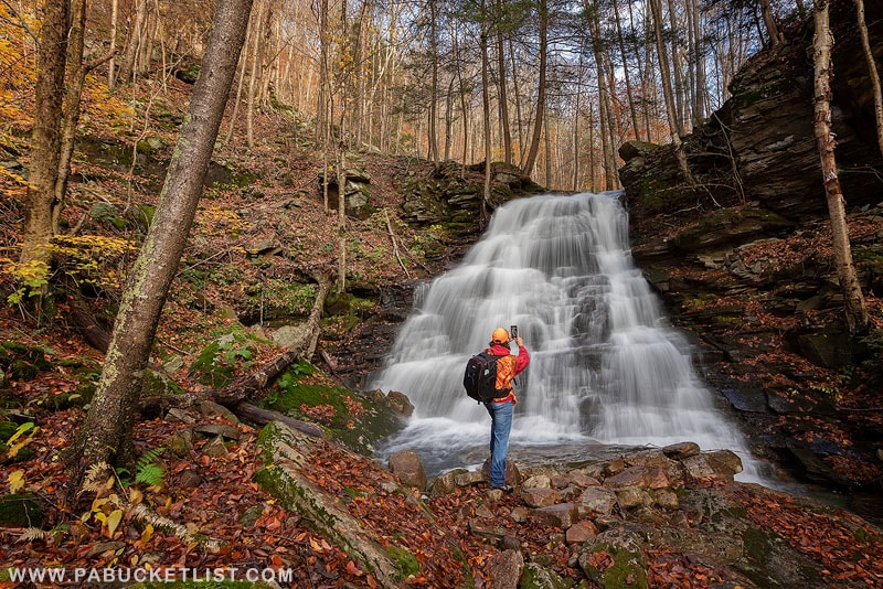 Rusty Glessner at the upper tier of Hounds Run Falls in the McIntyre Wild Area.