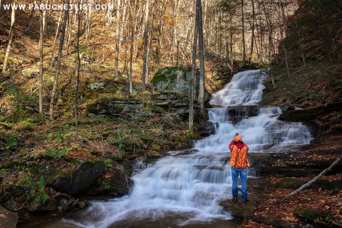 Rusty Glessner at Hounds Run Falls in the Loyalsock State Forest.