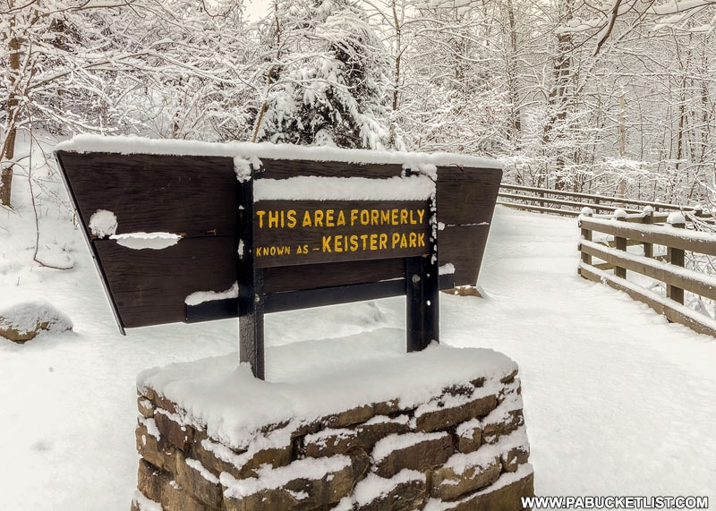 Keister Park sign at Cucumber Falls.