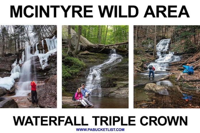 Waterfalls along Dutchmans Run, Miners Run, and Hounds Run, making up the McIntyre Wild Area Waterfall Triple Crown.