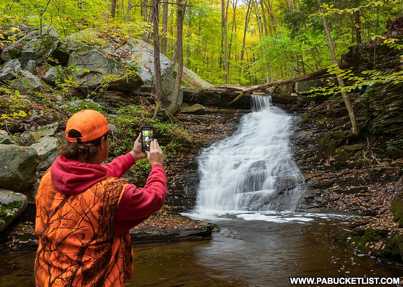 An autumn scene from the fifth waterfall on Miners Run in the Loyalsock State Forest.