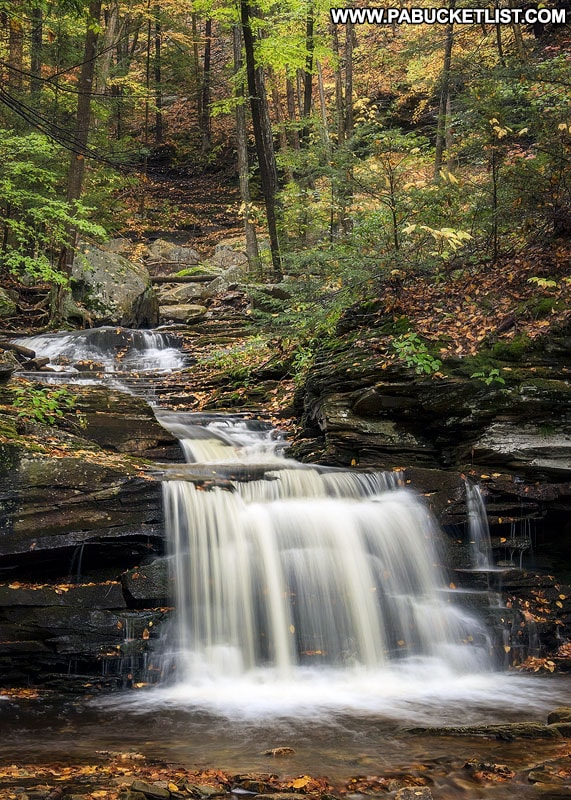 An autumn scene from the second waterfall on Miners Run in the Loyalsock State Forest.