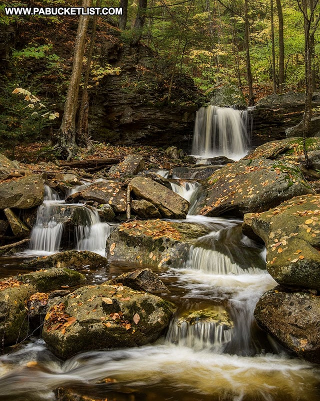 A downstream view of the sixth waterfall on Miners Run in the Loyalsock State Forest.