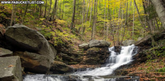 An autumn scene from the third waterfall on Miners Run in the Loyalsock State Forest.