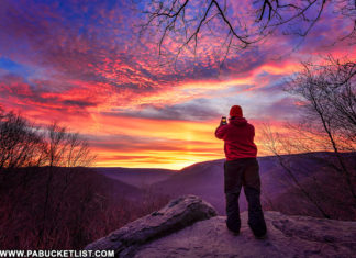 The author photographing a late winter sunrise at Baughman Rock Overlook.