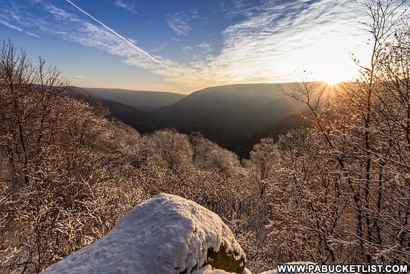 A winter sunrise at Baughman Rock Overlook, Ohiopyle State Park.