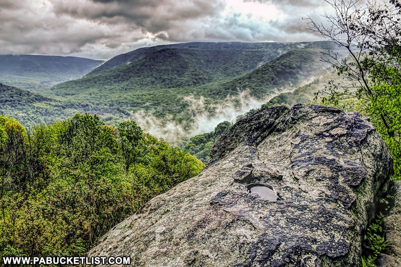 Thick clouds and valley fog after a rain storm at Baughman Rock Overlook, Ohiopyle State Park.