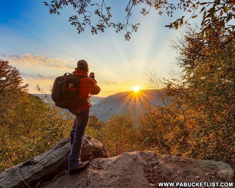 The author photographing an autumn sunrise at Baughman Rock Overlook.