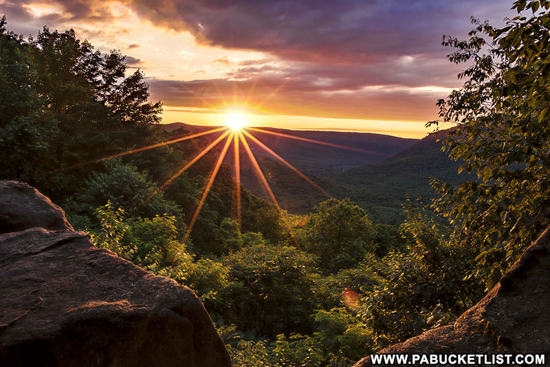 A springtime sunrise at Baughman Rock Overlook, Ohiopyle State Park.
