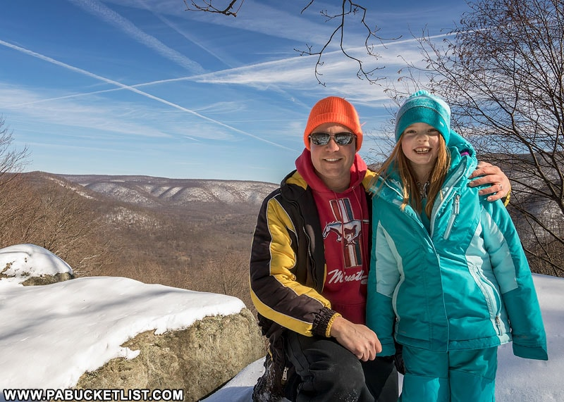 The author and daughter Hailee at Baughman Rock Overlook, Ohiopyle State Park.