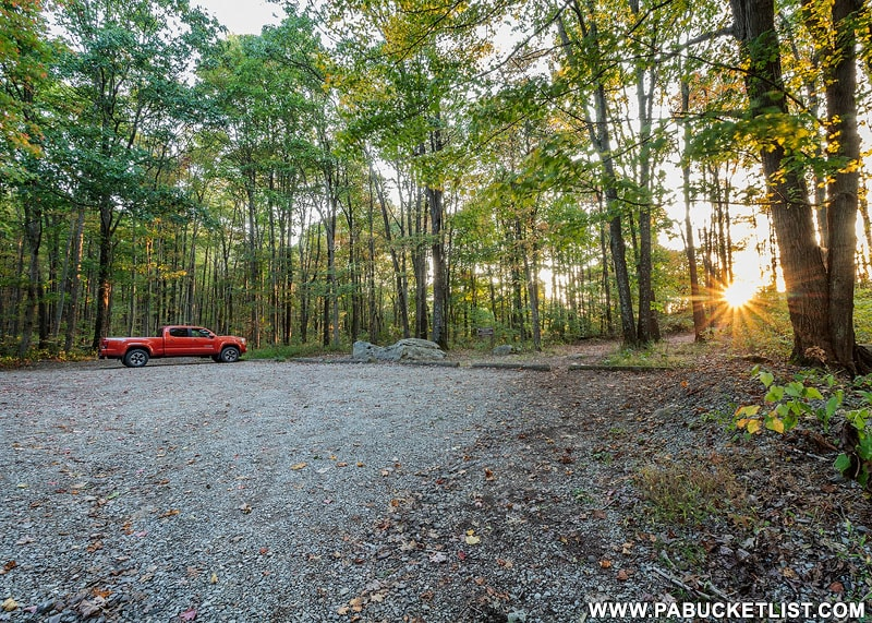 The parking lot at Baughman Rock Overlook, Ohiopyle State Park.