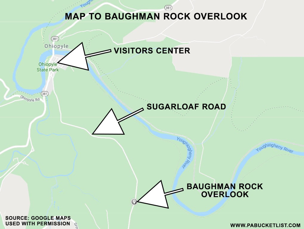 A map showing the location of Baughman Rock Overlook at Ohiopyle State Park.