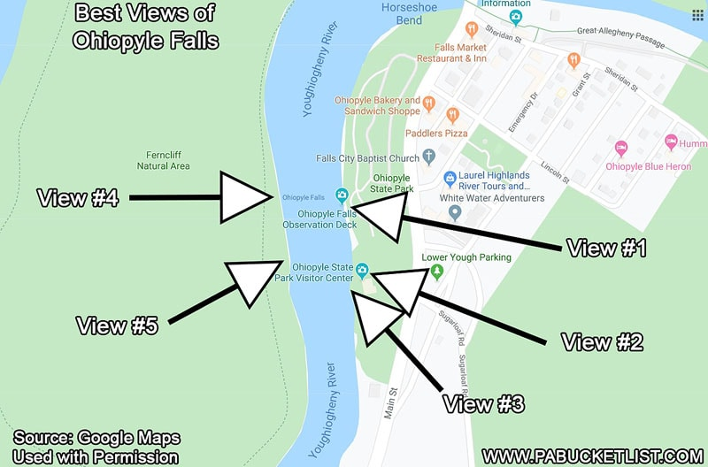 A map of the best spots to view Ohiopyle Falls at Ohiopyle State Park.