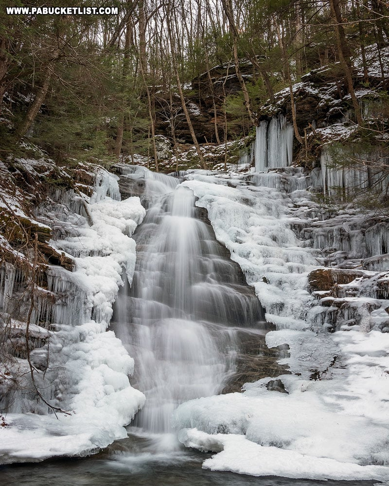 Ice formations surrounding Abbott Run Falls.