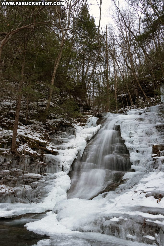 A side view of Abbott Run Falls in the McIntyre Wild Area