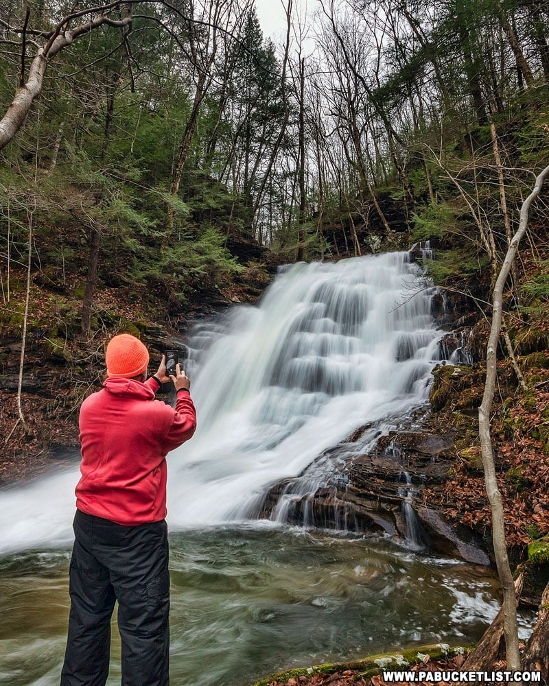 The author at Abbott Run Falls in the McIntyre Wild Area.