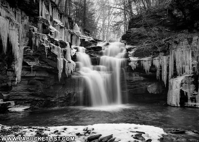 A black and white view of Big Falls on State Game Lands 13 in Sullivan County, PA.
