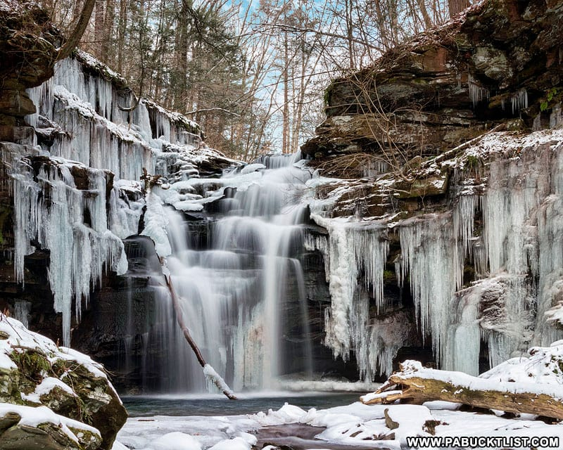 A wall of ice surrounding Big Falls on State Game Lands 13 in Sullivan County, PA.