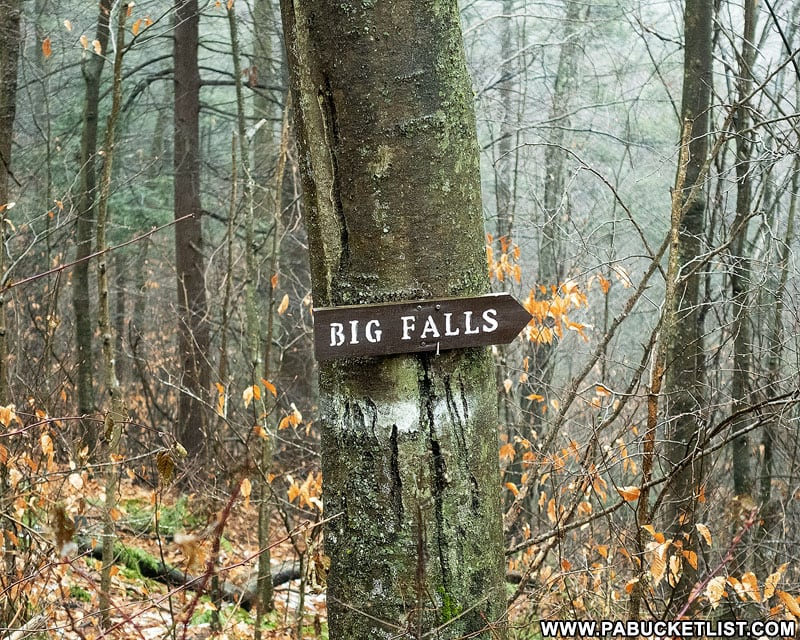Big Falls sign along Grassy Hollow Road